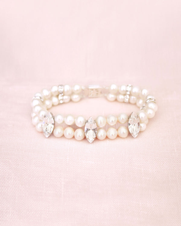 midnight garden pearl bracelet made with swarovski crystals