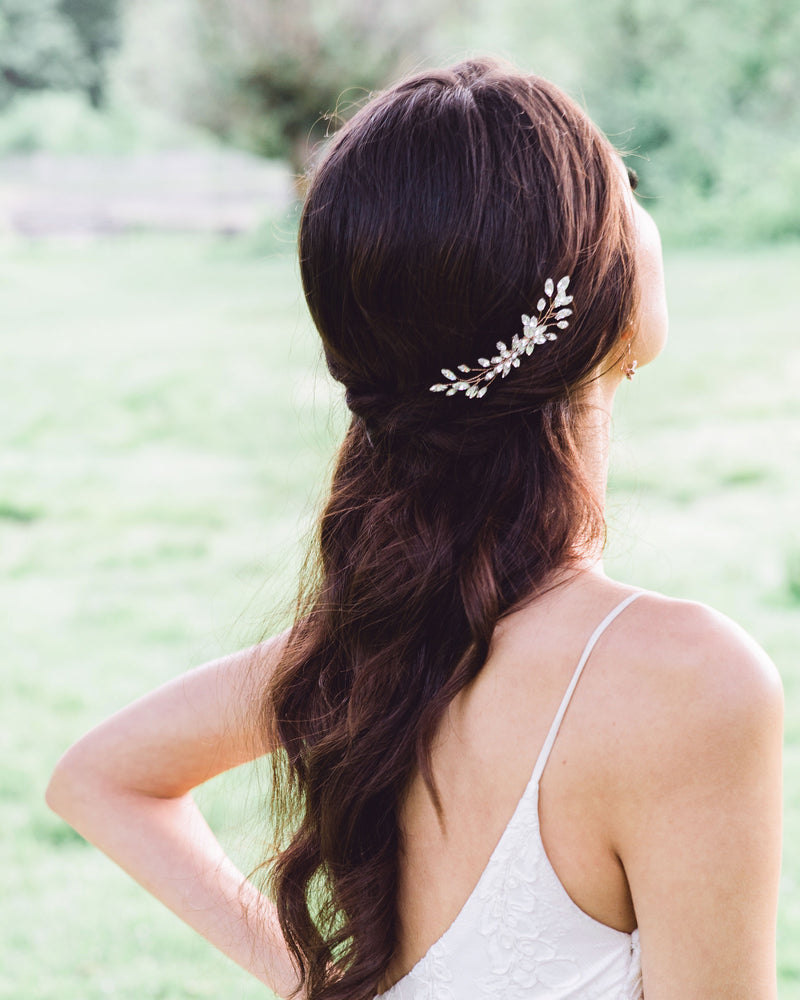 Model wearing Aster Swarovski crystals bridal hair comb