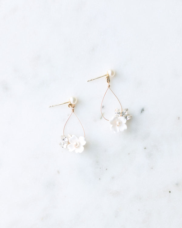 Belle Fleur hand-crafted flower and Swarovski crystal statement bridal teardrop earrings