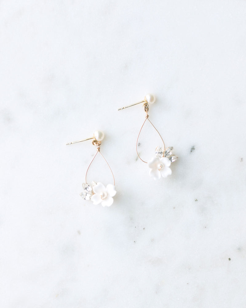 hand-crafted flower and Swarovski crystal statement bridal earrings