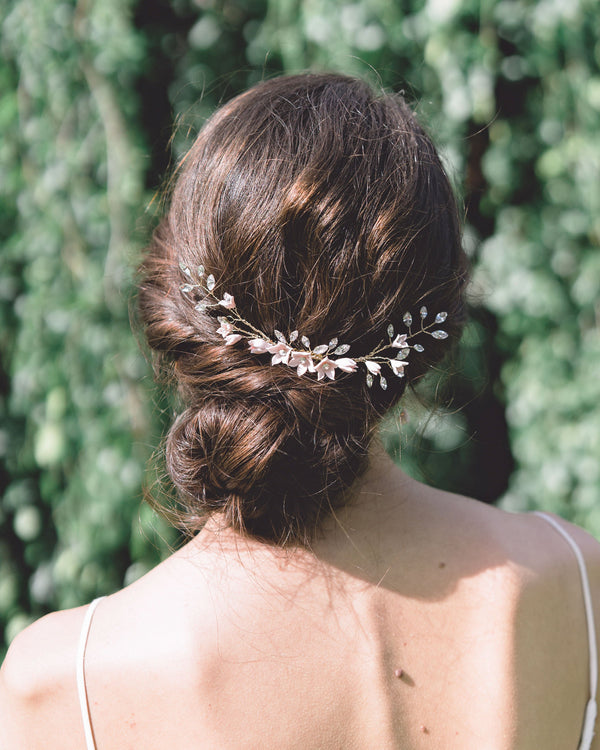 Gold Belle Fleur Grand Bridal Comb by Atelier Elise styled with a low bun updo