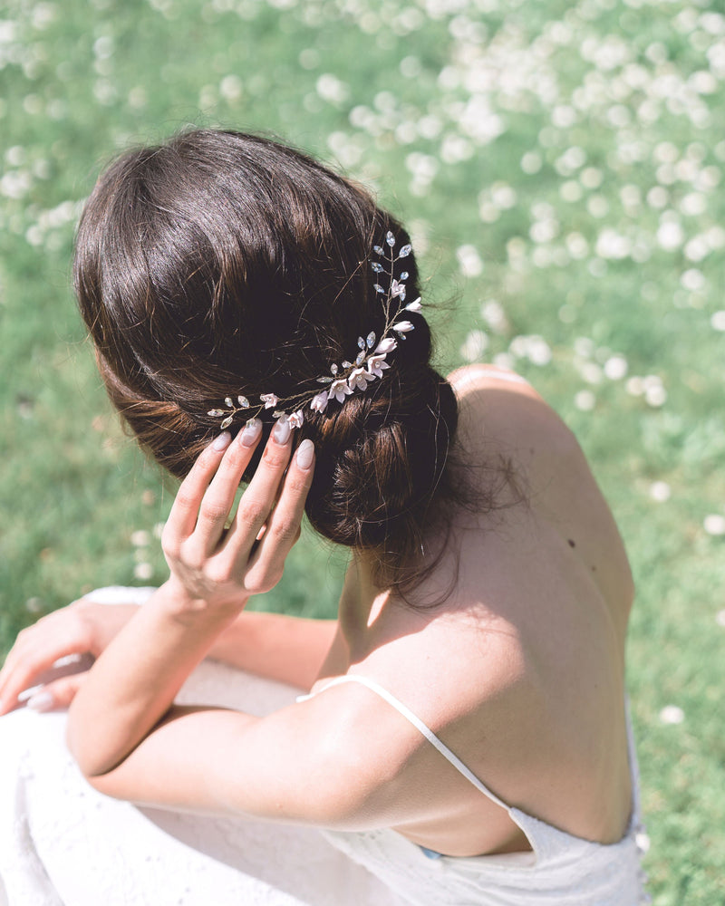 The Belle Fleur Grand swarovski crystal Bridal hair Comb by Atelier Elise styled with a low updo