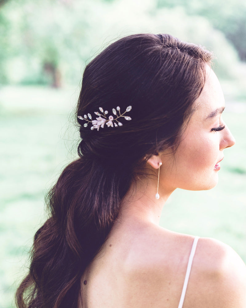 model wearing Belle Fleur gold Hair Pin with swarovski crystal hair accessories