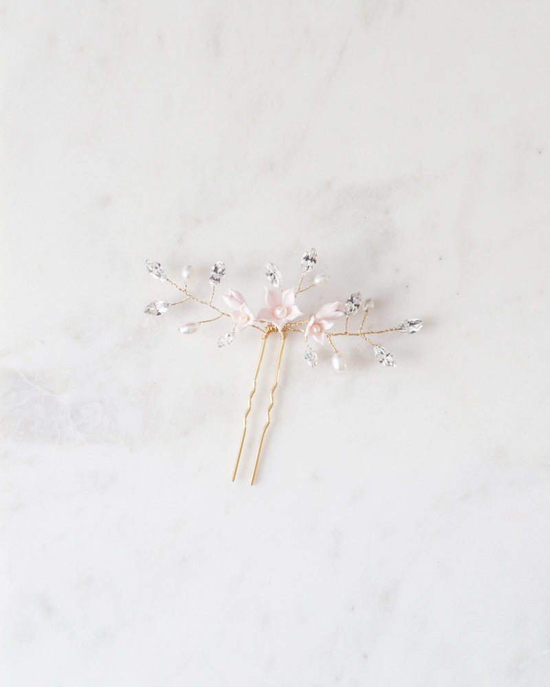 Belle Fleur gold Hair Pin with swarovski crystal and freshwater pearls