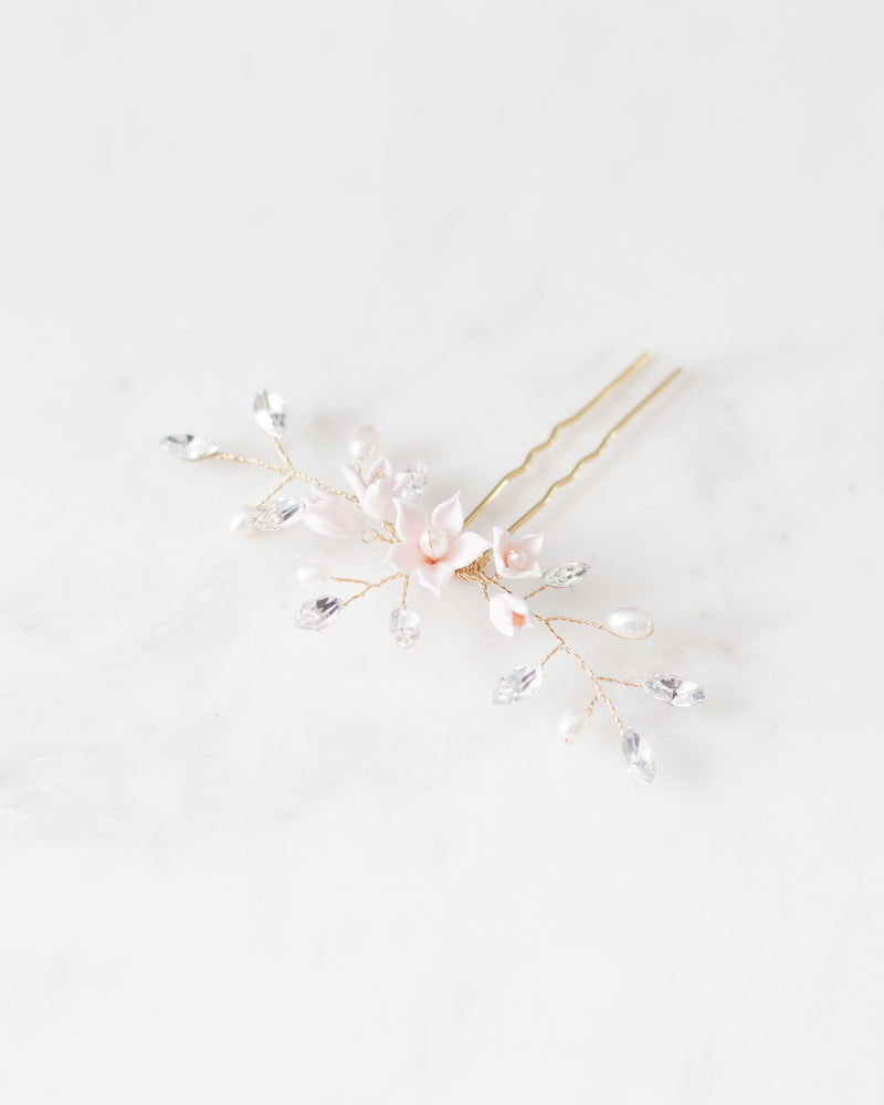 Belle Fleur gold Hair Pin with swarovski crystal and freshwater pearls bridal hair pins
