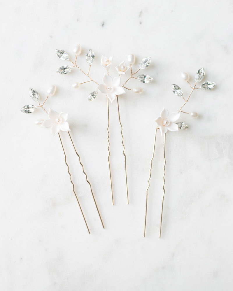 Belle Fleur Gold hair pins with swarovski crystals, freshwater pearls and flowers
