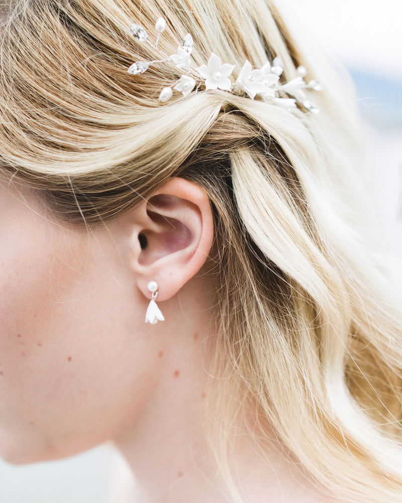 Close up of the Belle Fleur Petite Bridal Earrings shown with the Belle Fleur Comb; clay flowers and freshwater pearls, Bridal Jewellery
