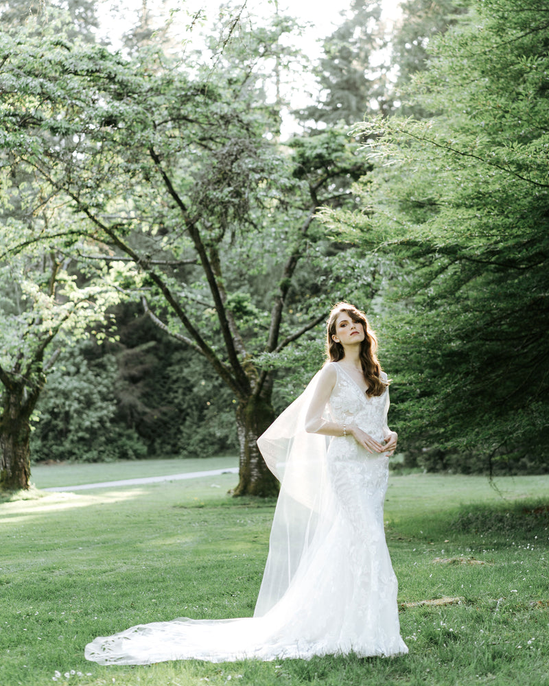 model wearing Cascading Leaves long sheer wedding cape, alternatives to veil