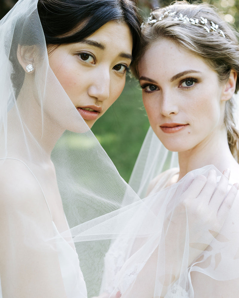 veil styling models wearing cascading leaves wedding veil