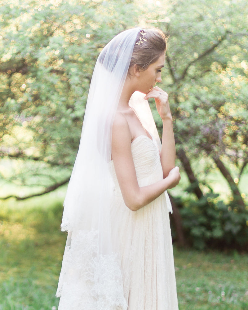 updo hair with veil cassia fingertip lace bridal veil