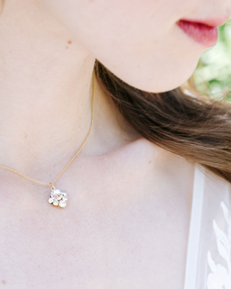 bridal jewelry celestial drop necklace in swarovski crystal and gold