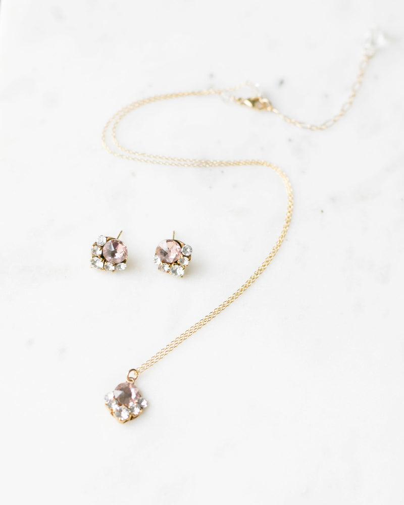 celestial bridal jewelry set blush swarovski crystals and rose gold