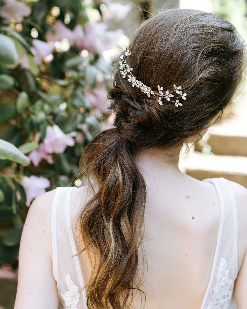 low pony bridal rosegold swarovski crystal blossoms hair comb