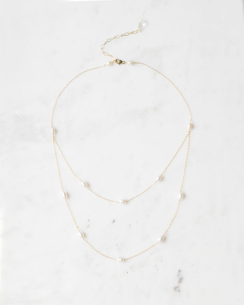 Dainty Pearl Layered Necklace in rose gold with freshwater pearl