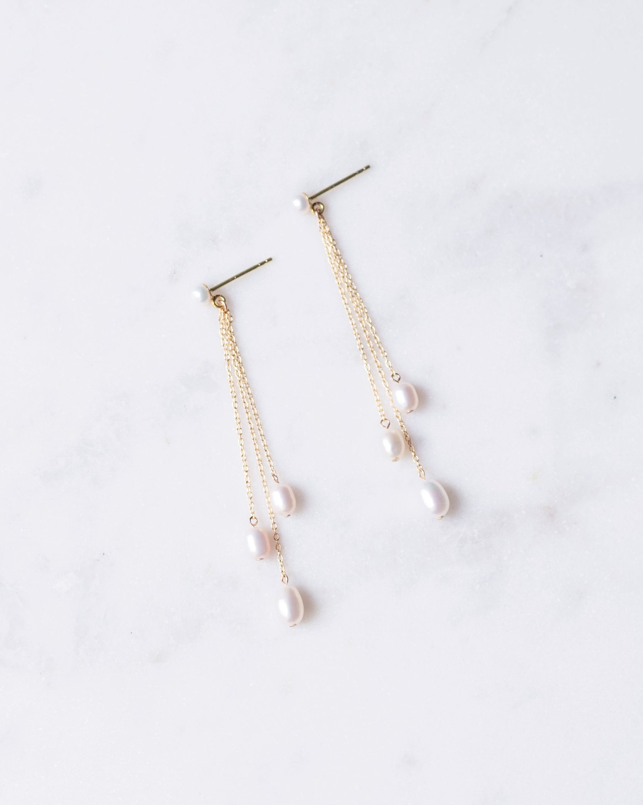 Dainty Pearl Trio Earrings