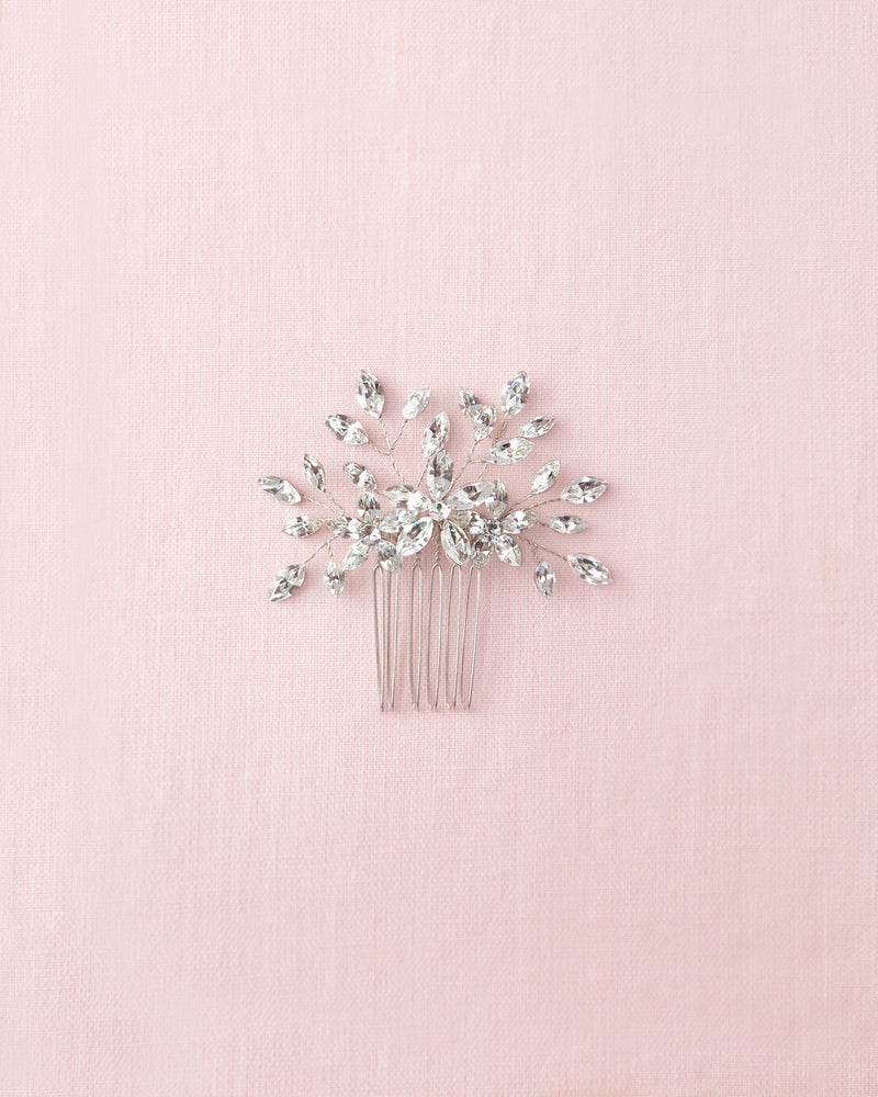 delicate crystal hair comb with swarovski