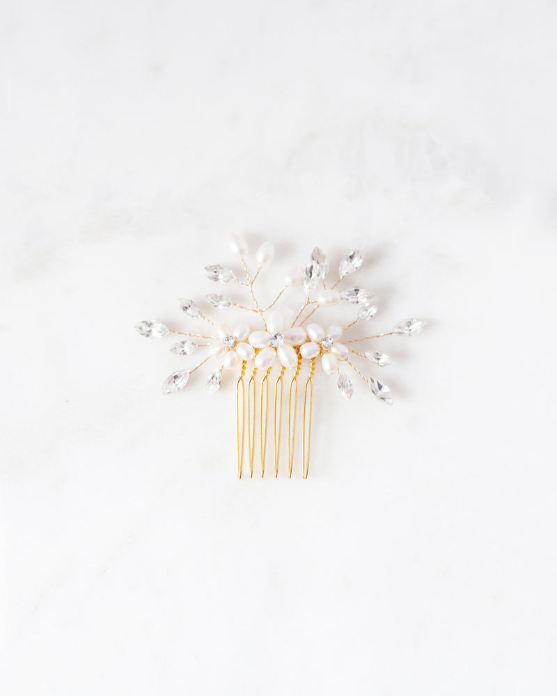 delicate swarovski crystal and freshwater pearl hair comb in gold