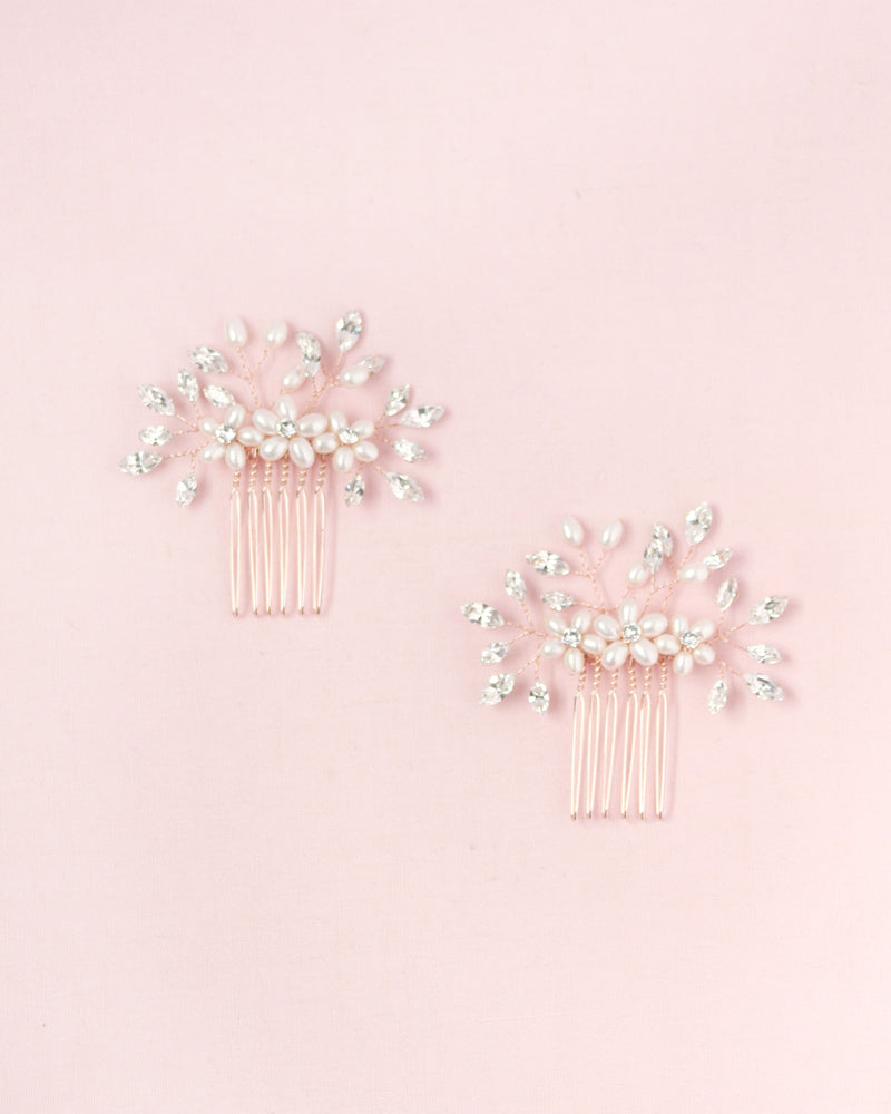 Delicate Pearl & Crystal Combs