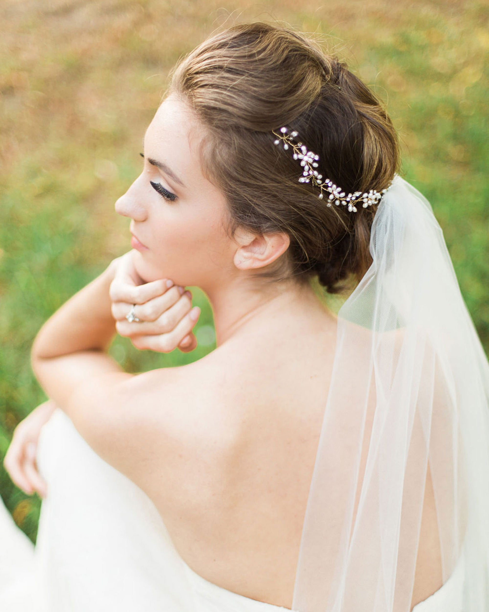 delicate pearl & crystal halo - atelier elise
