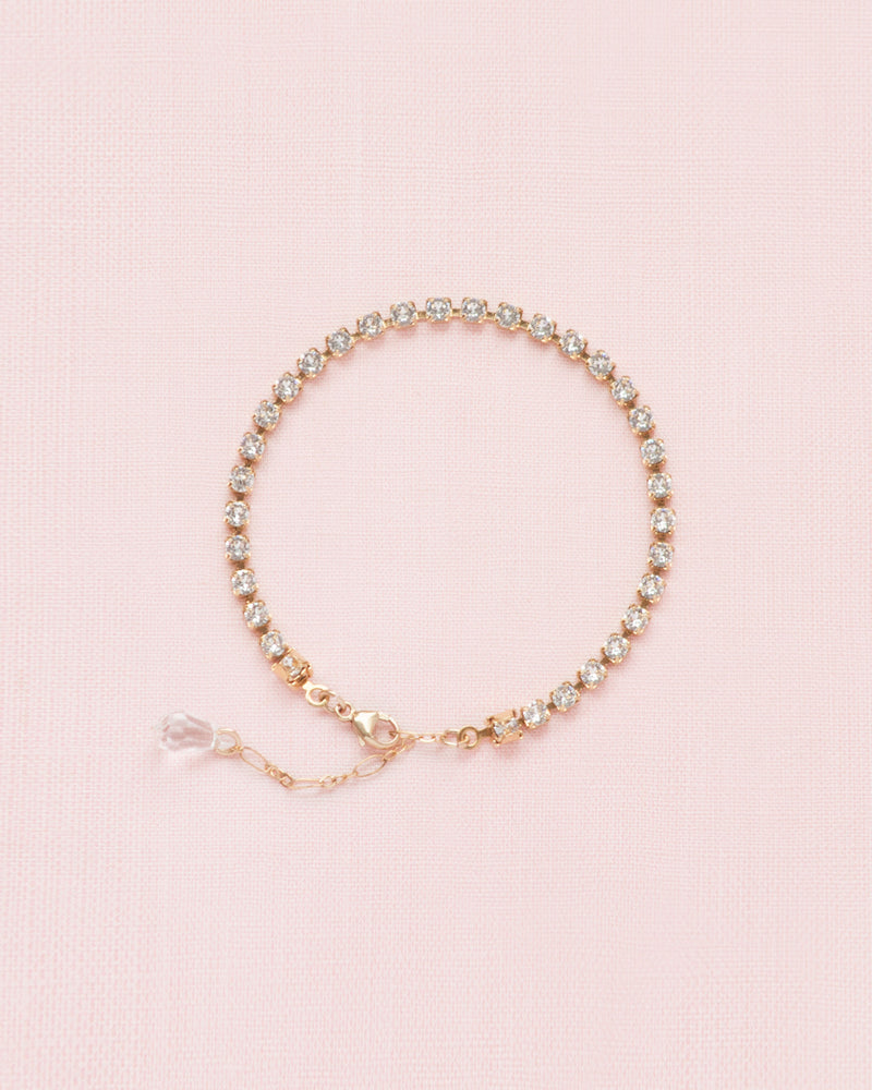 swarovski crystal cup chain tennis bracelet in gold