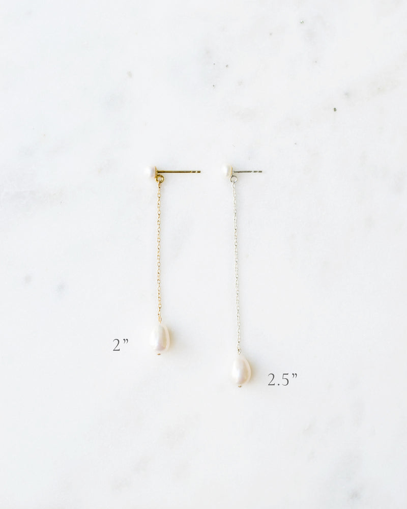 Lengths of the teardop peatl long drop earrings