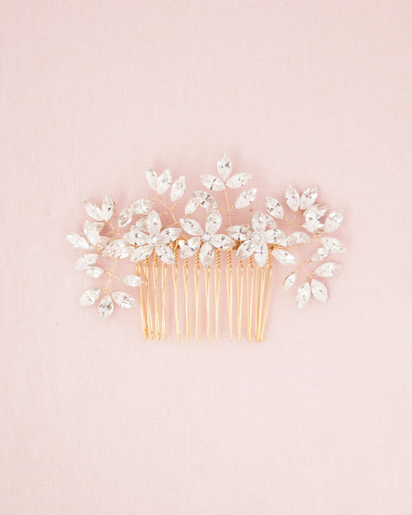Swarovski crystal bridal comb with delicate sprigs of leaves and flowers
