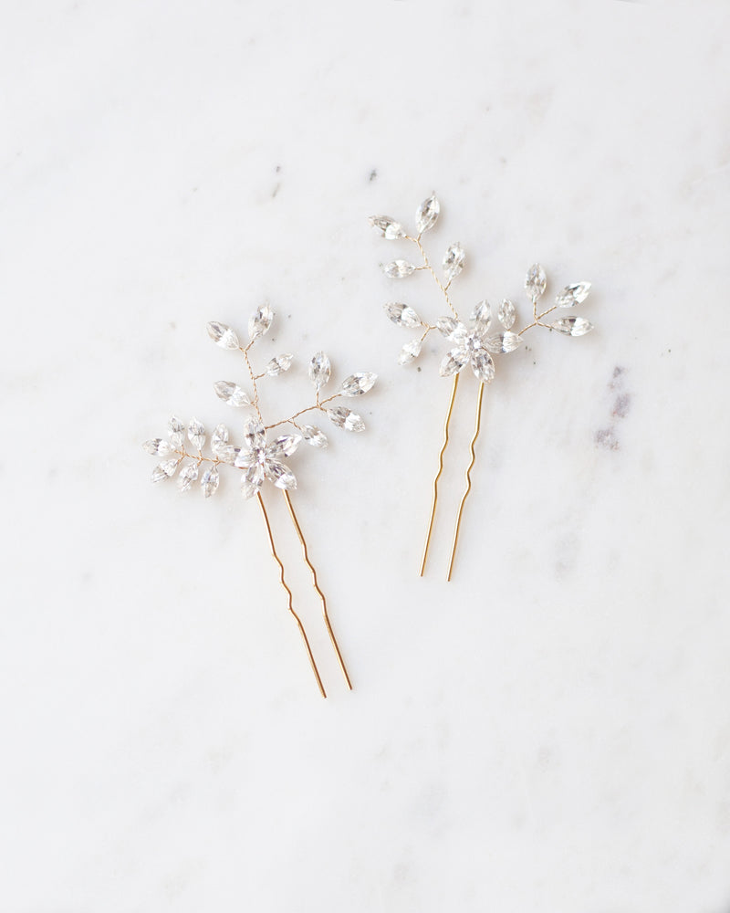 Everthine hair pins in silver with swarovski crystals