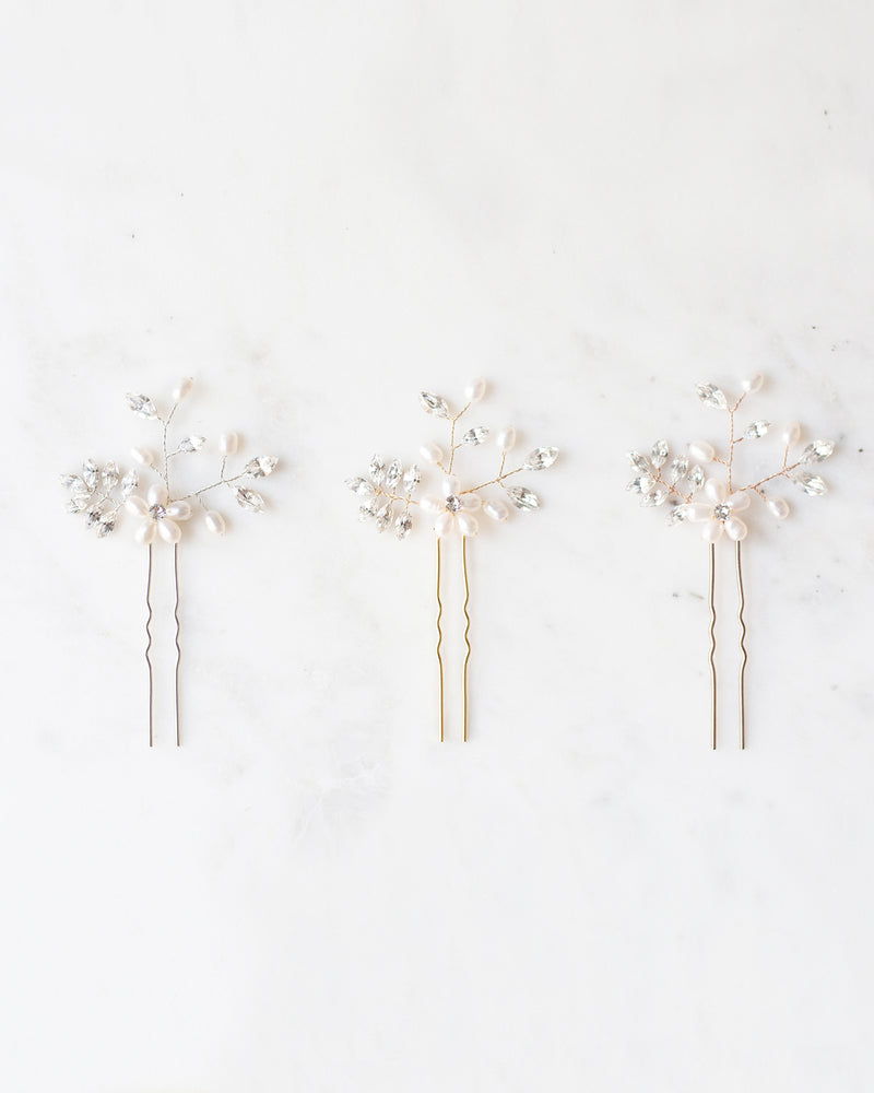 everthine hair pins bridal swarovski crystals rose gold, silver, gold