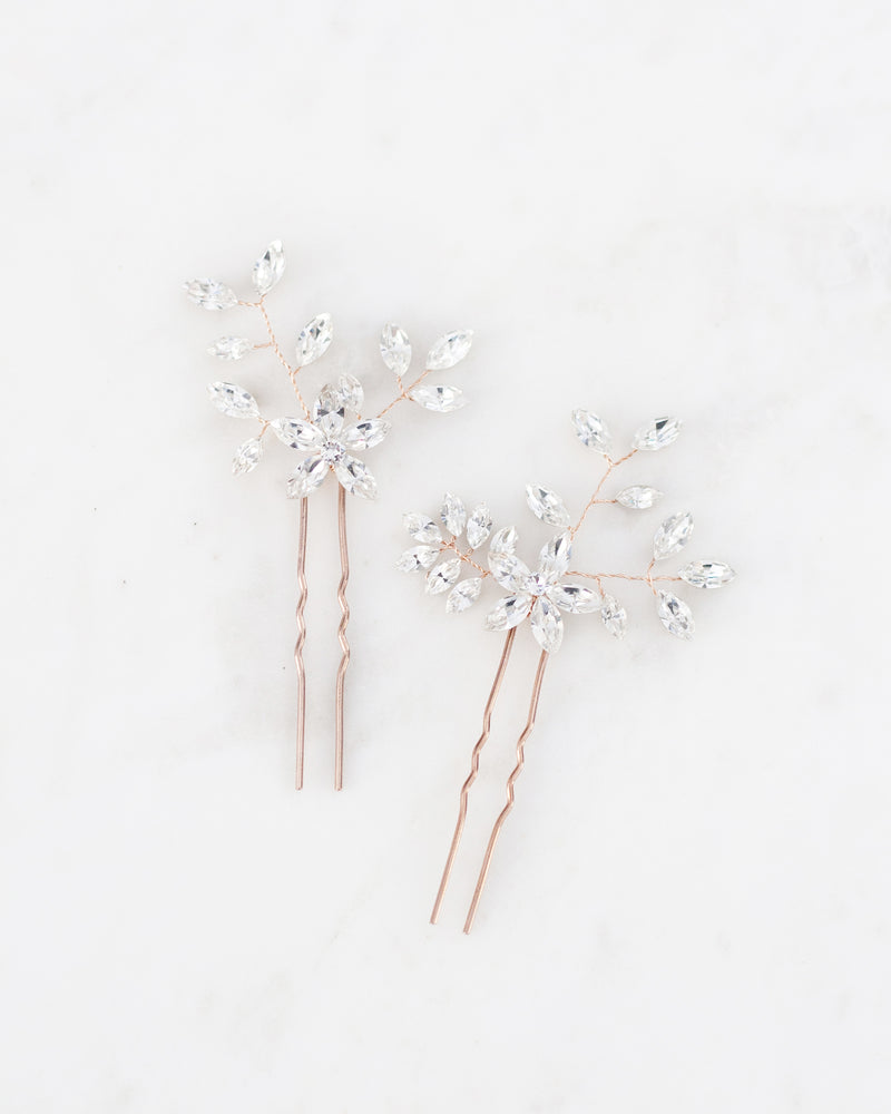 Everthine rose gold hair pins with swarovski crystals