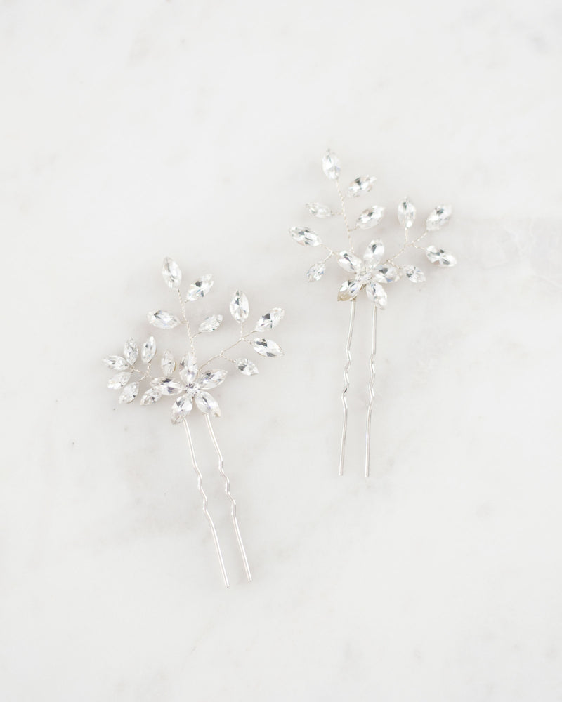 everthine hair pin bridal set in silver swarovski crystal