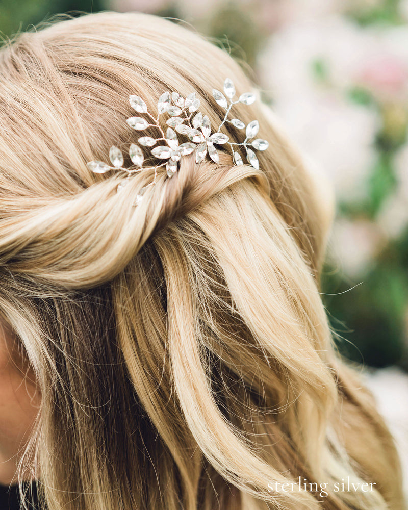 Crystal hair pins with delicate sprigs of leaves and flowers