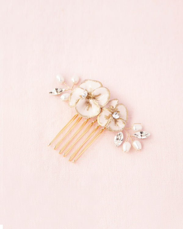 Small comb of hand-painted flowers, freshwater pearls and crystals