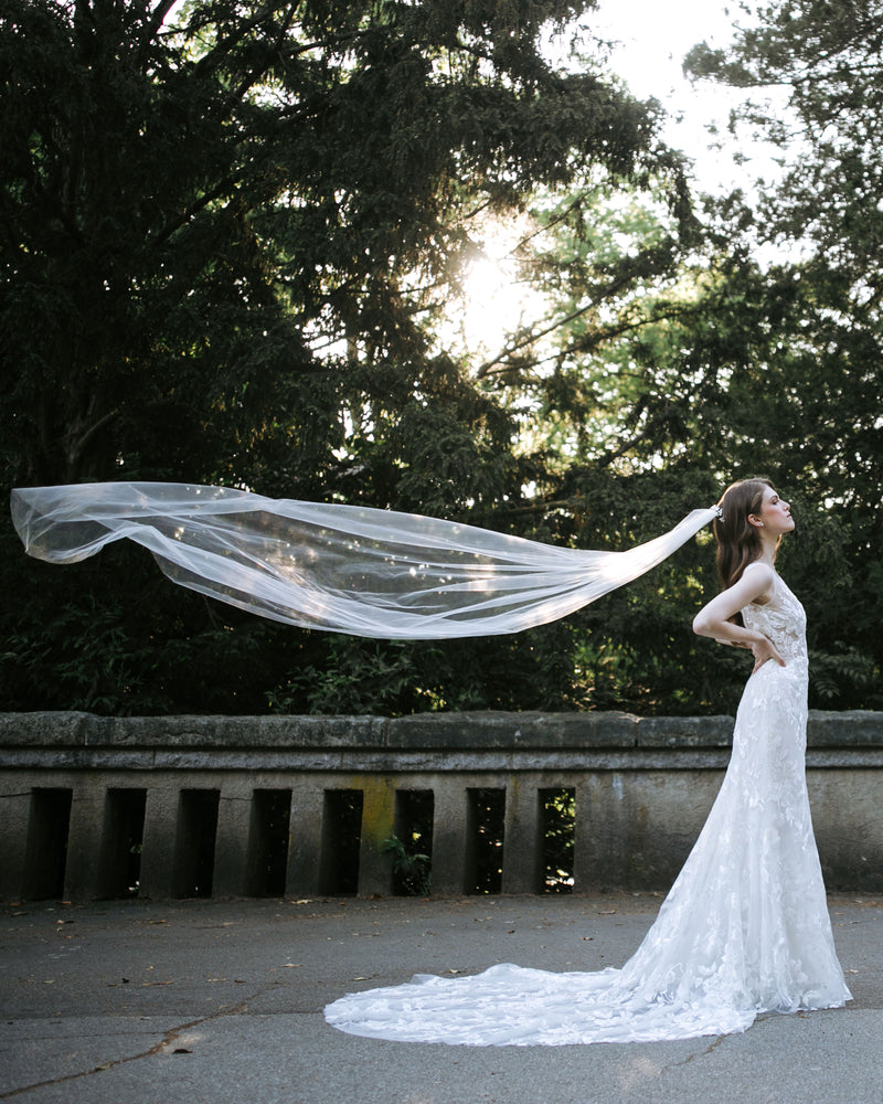 model wearing lily chapel bridal veil