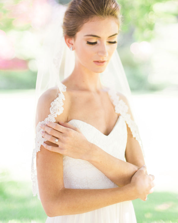 peony elbow length lace bridal veil
