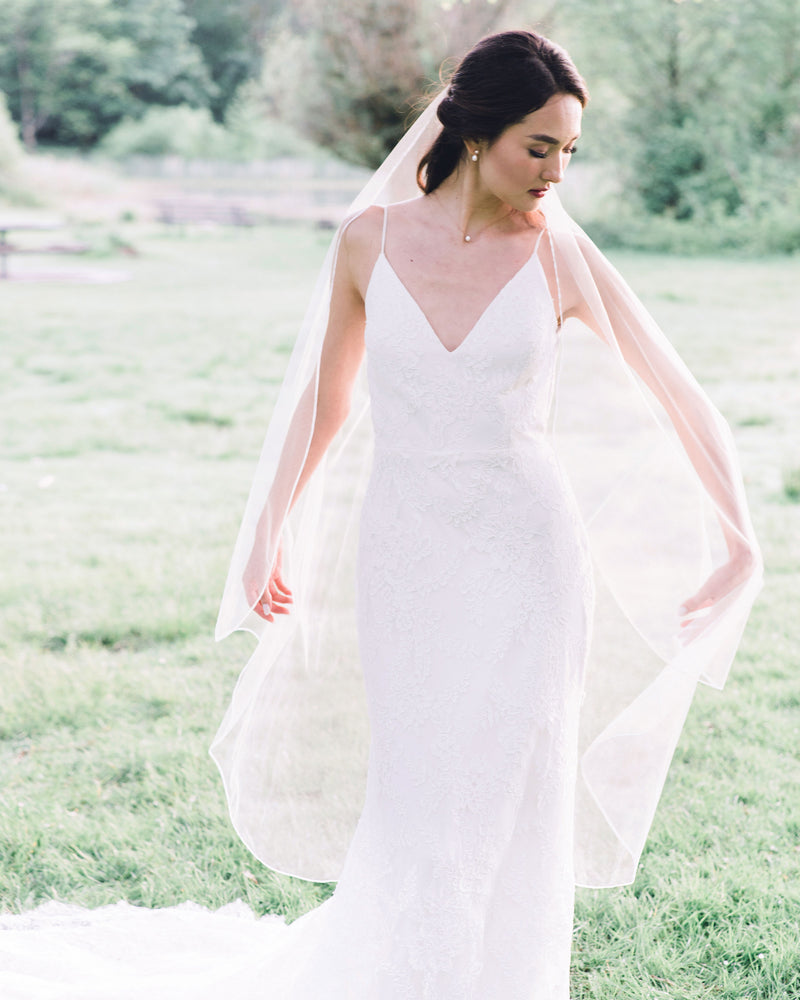 model wearing primrose waltz bridal veil