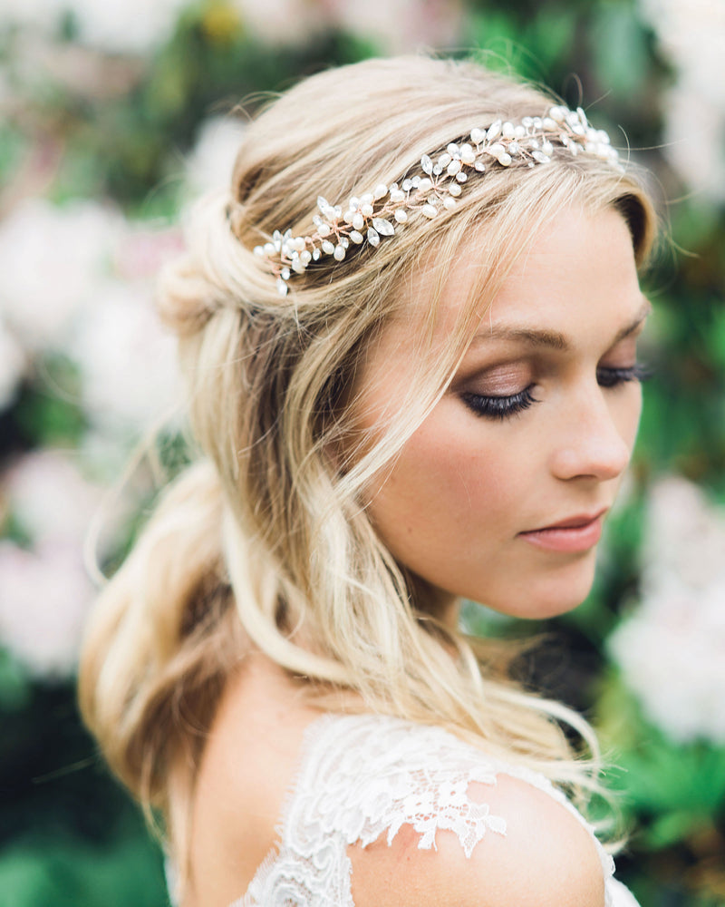 Model wearing Reverie rose gold halo headpiece with swarovski crystals and freshwater pearls