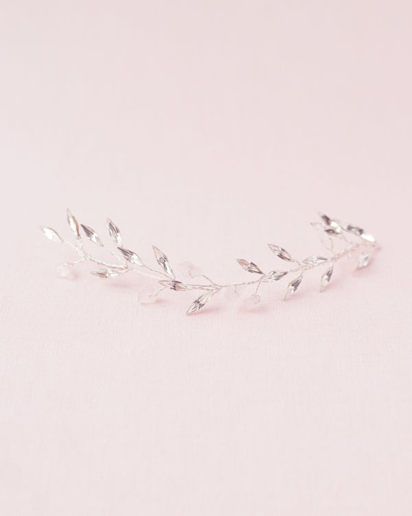 Seamist hair comb in rose quartz and silver with swarovski crystals