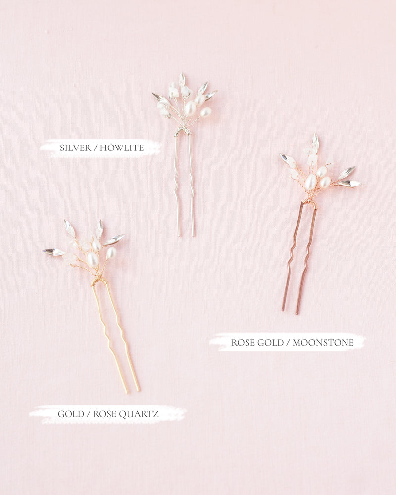 Seamist hair pins in rose quartz, freshwater pearls, and swarovski crystals