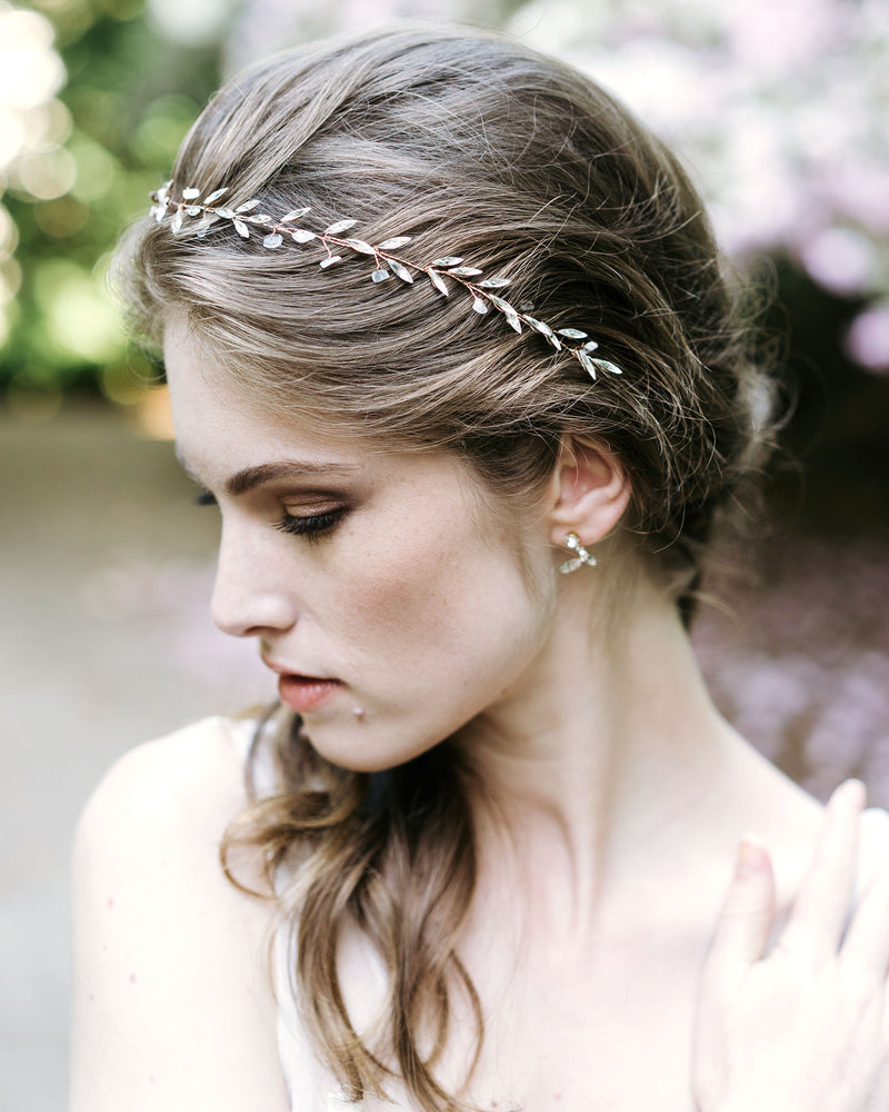 Model Wearing Sea Mist Rosel gold and Moonstone Hair Vine