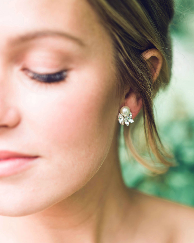 model wearing starlight swarovski crystal freshwater pearl wedding stud earrings