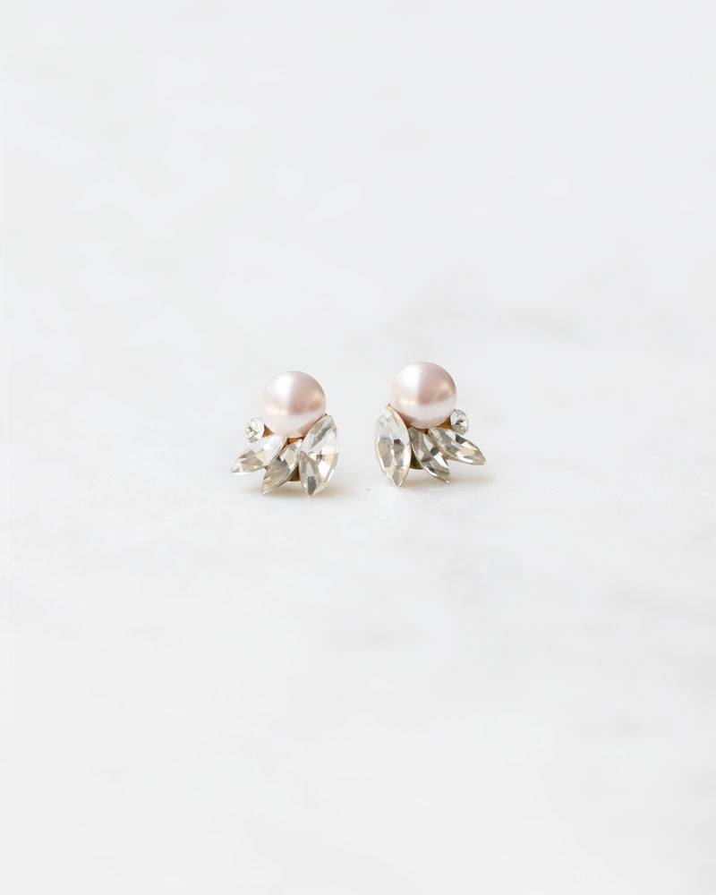 Starlight swarovski crystal and pearl stud earrings wedding