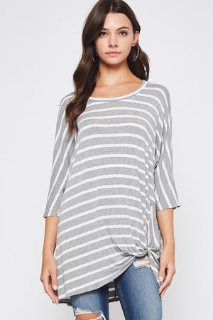 Striped Boat Neck Twist Top - PLUS
