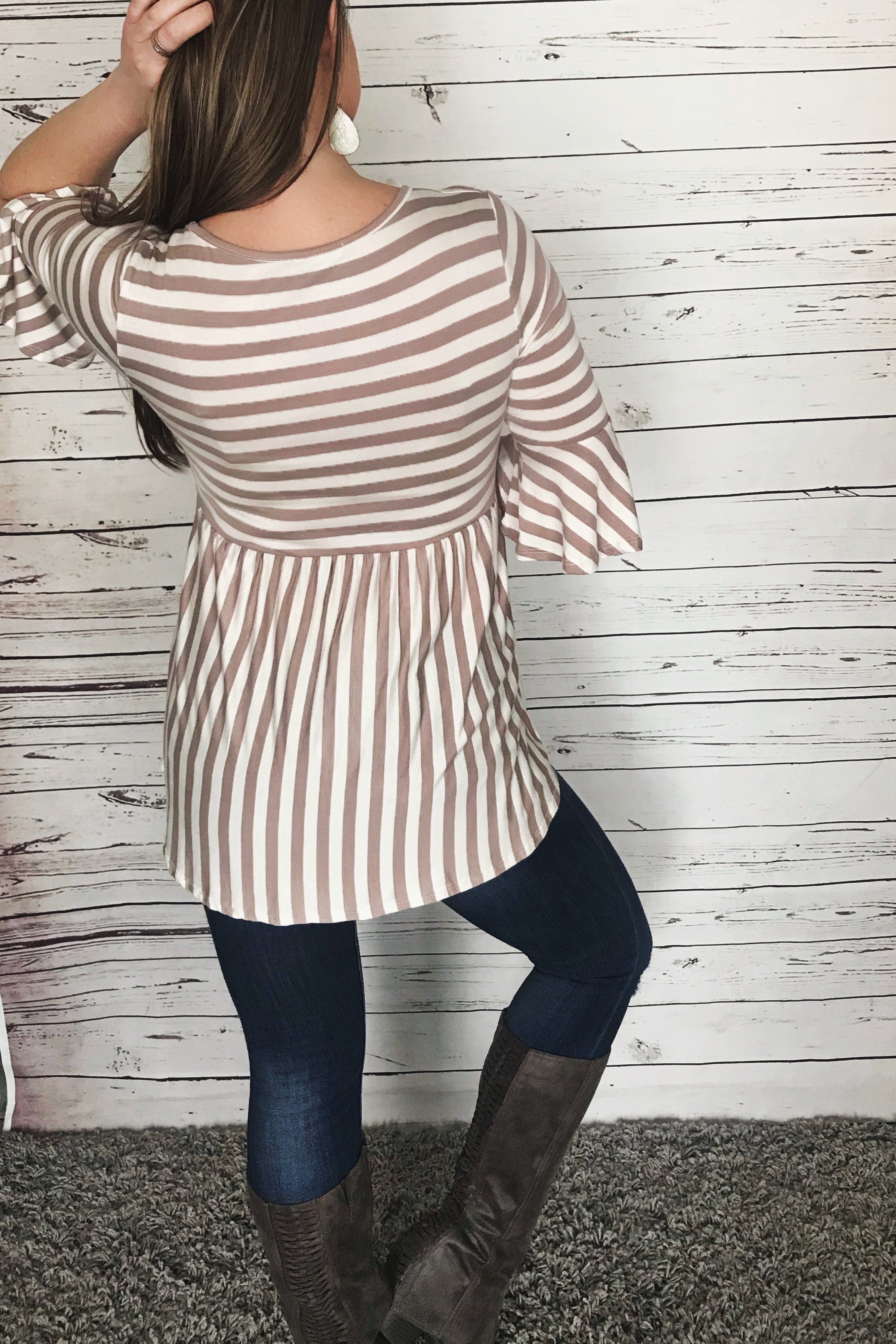 Tabitha Taupe Striped Babydoll top