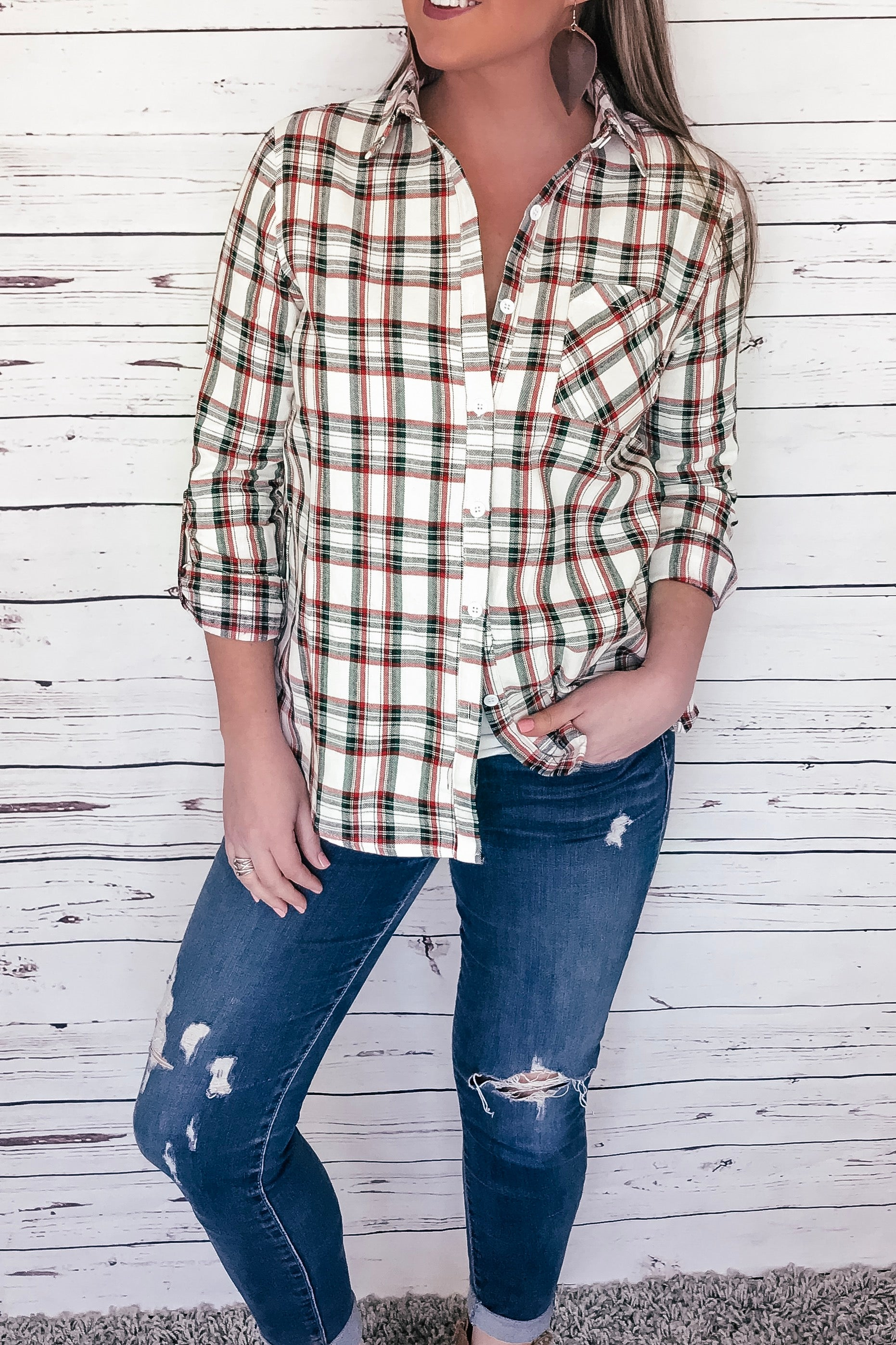 Caroline Button Up Plaid Top