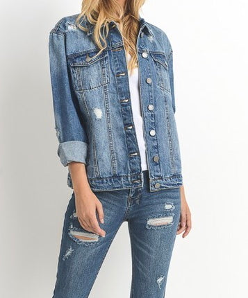 The Uptown Distressed Denim Jacket