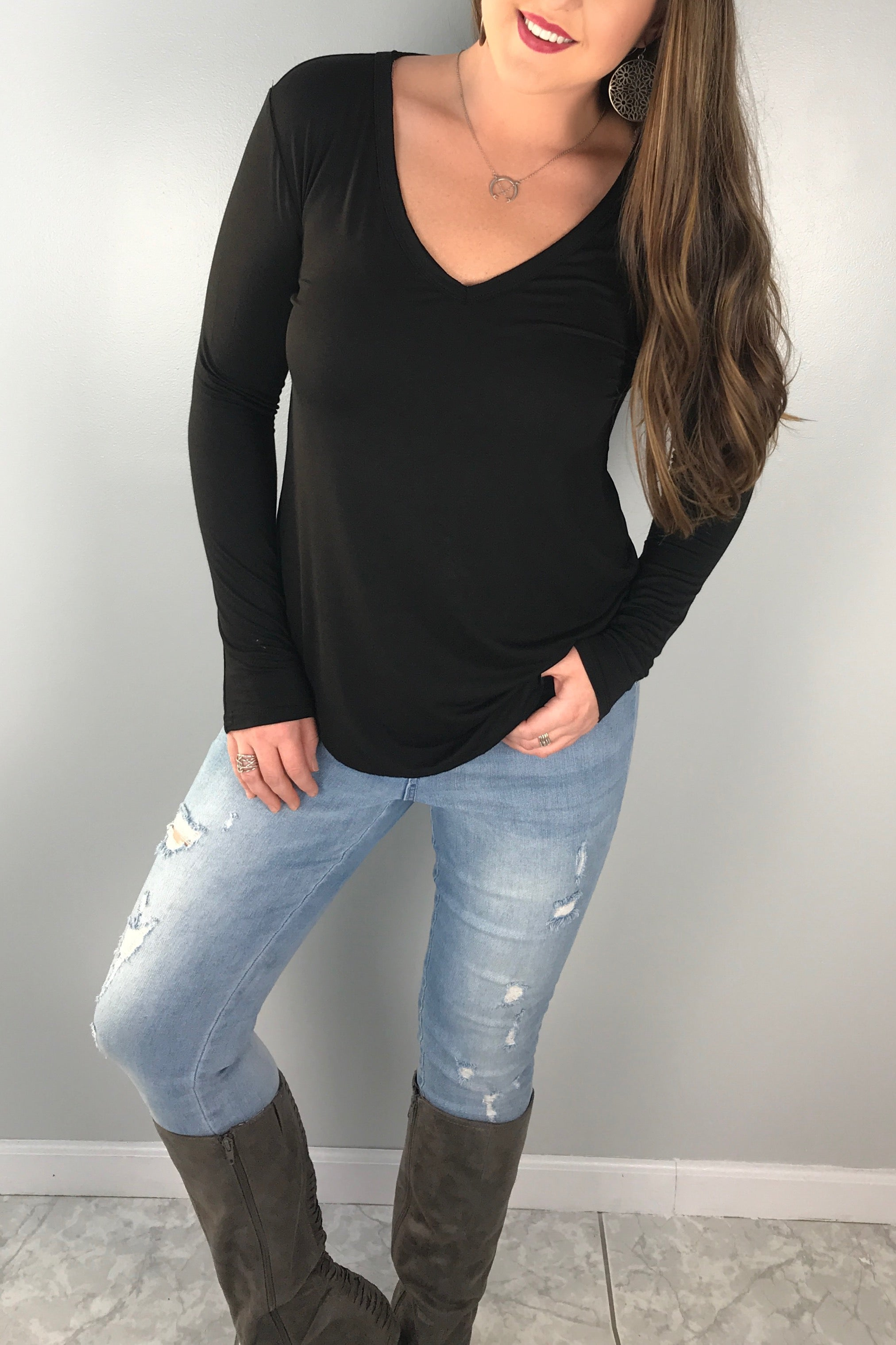 Modal Long Sleeve V-neck Top