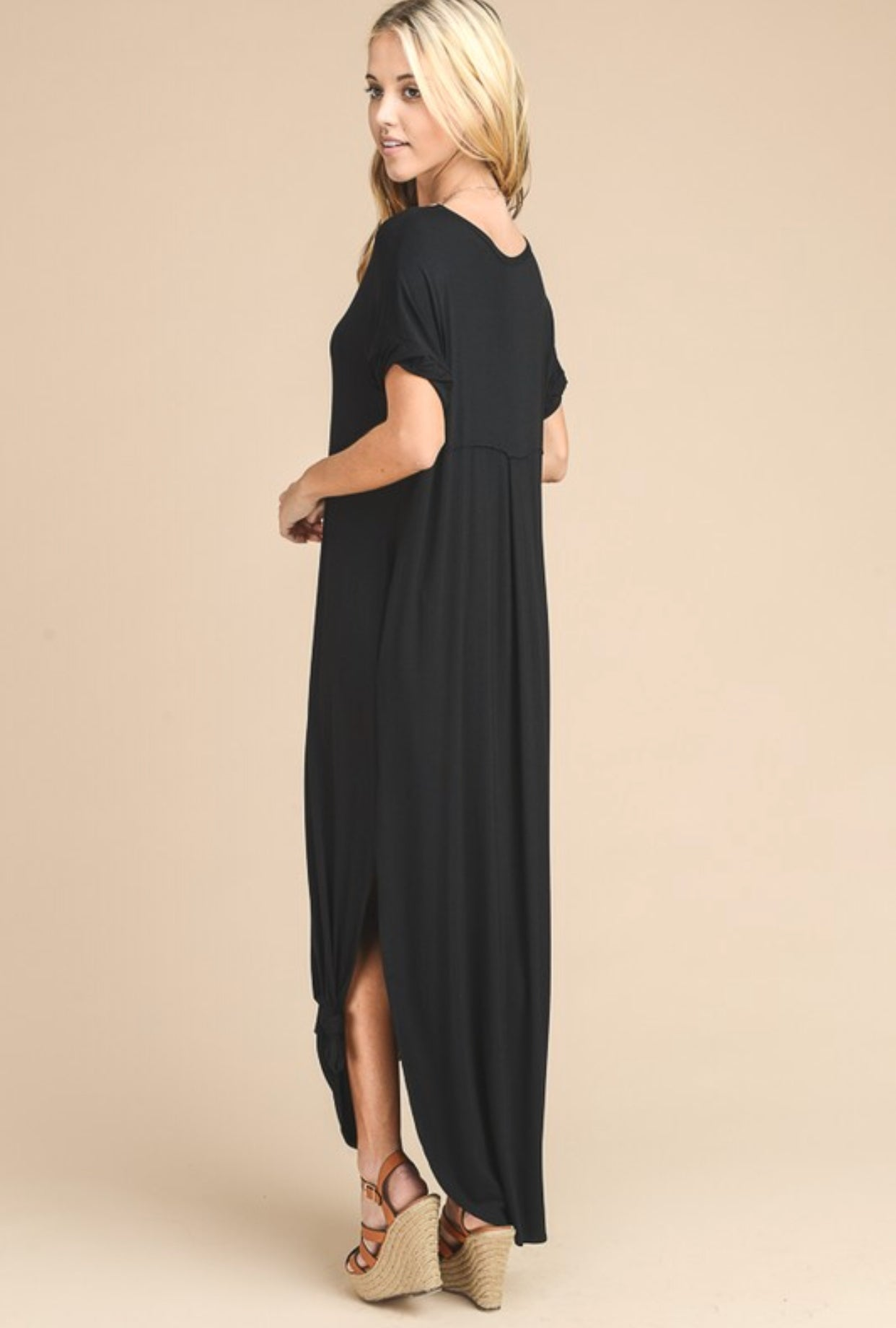 Oversized Short Sleeve Black Maxi