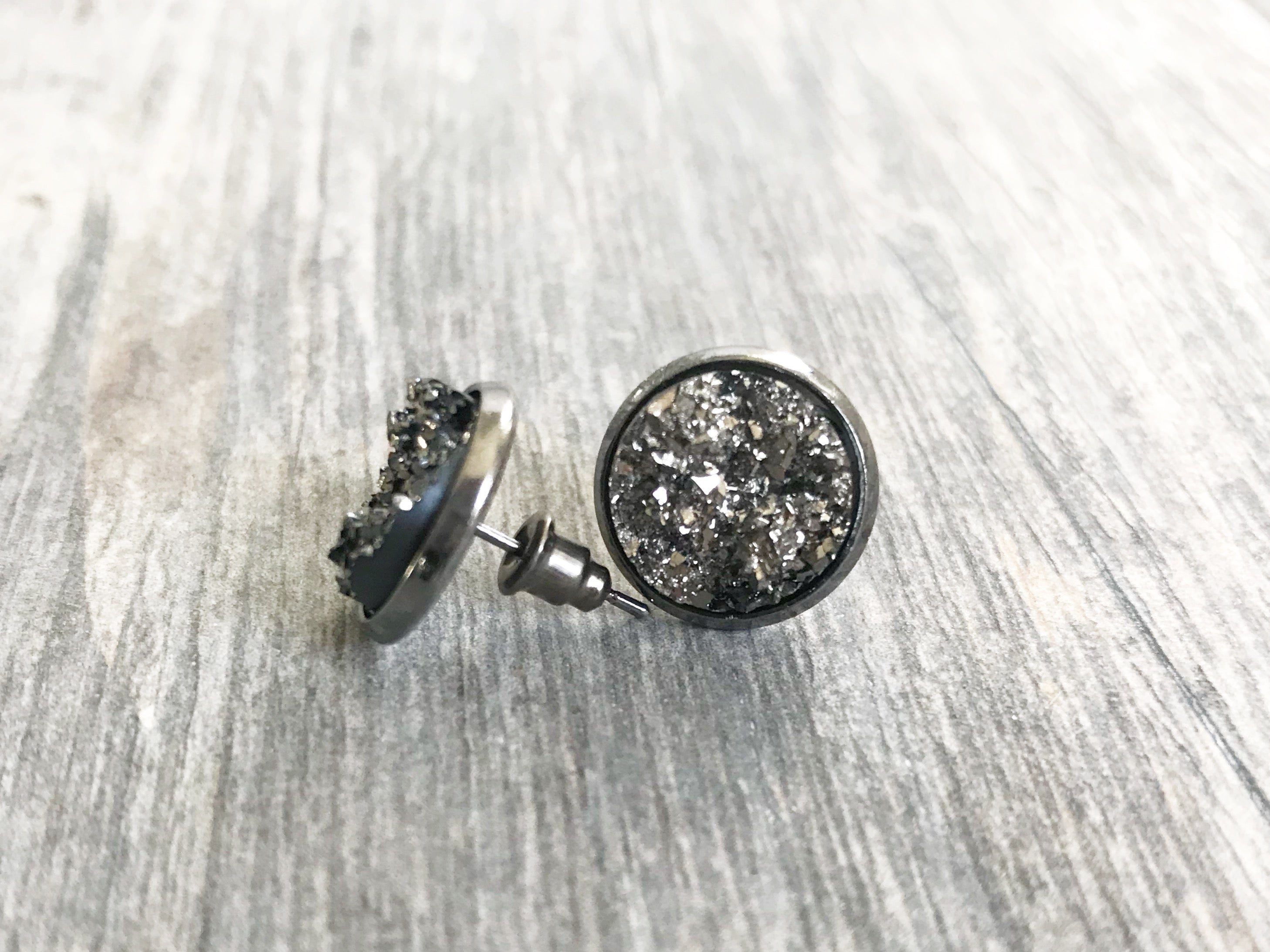 Round Druzy Stud Earrings