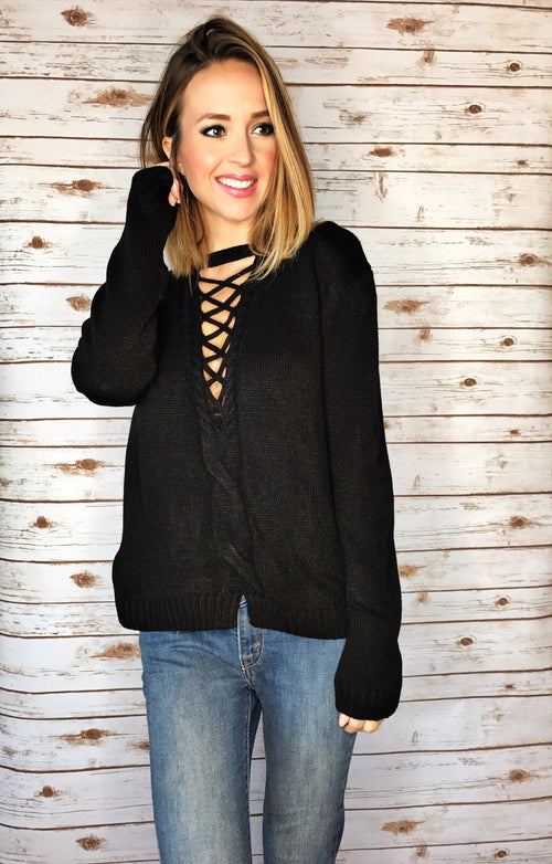 Front Lattice Cut Black Sweater