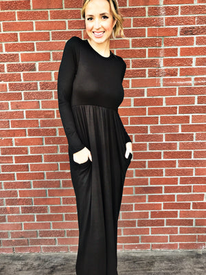 Black Long Sleeve Solid Maxi Dress - LURE Boutique